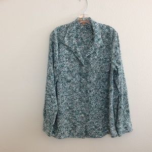 Ellen Tracy Long Sleeve Button Down Blouse